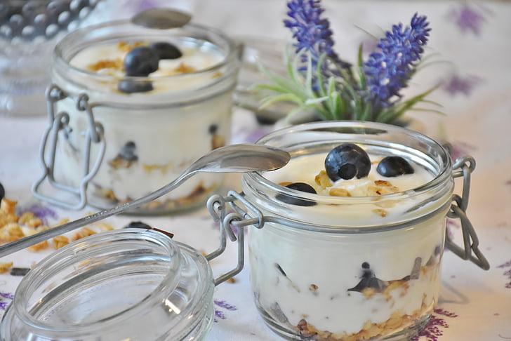 iogurt, baies, nabius, postres, llet, aliments, fruites