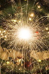 spark, lights, fireworks, glow, christmas, sparkle, xmas