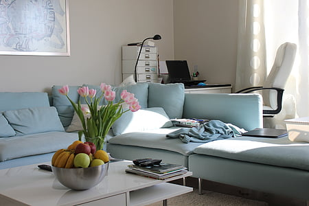 be, the interior of the, blue, seat, bed, domestic Room, bedroom