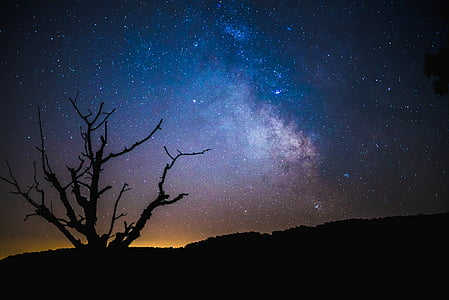 Cosmos, tumša, Galaxy, naktī, siluets, debesis, zvaigznes