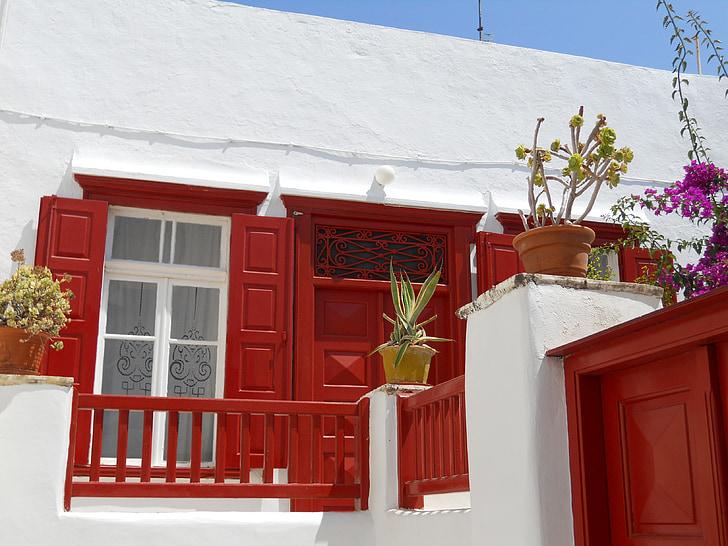 hauswand, sarkana, balta, mājas, stils, logs, apdare