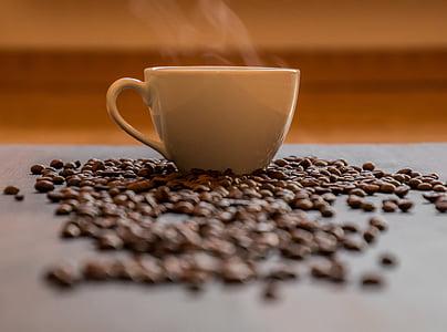 커피, 커피 컵, 뜨거운 커피, 증기, 연기, 컵, 블랙