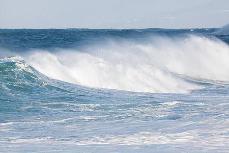 Ωκεανός, πλημμύρα, στη θάλασσα, κύμα, νερό, σπρέι, Ενοικιαζόμενα