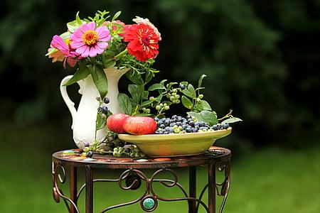 impressió d'estiu, flors, fruita, bodegons, jardí, flor, natura