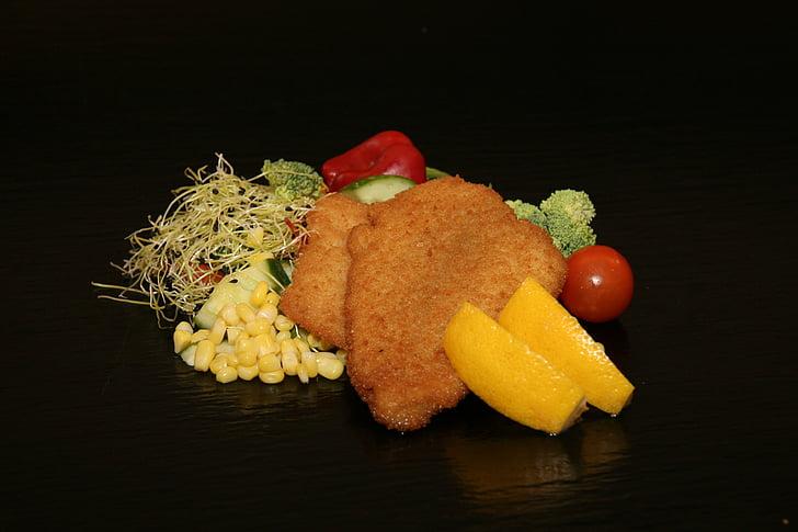 Filet de peix, arrebossat, fregits, llimona, friture, refrescos, gust