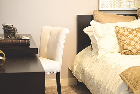 bed, desk, bedroom, chair, pillows, furniture, home decor