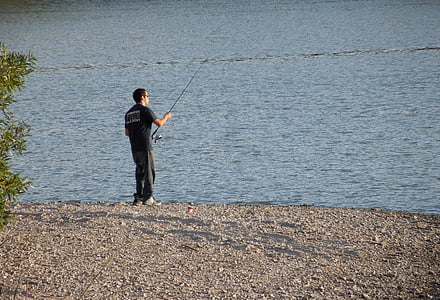 fishing, pole, water, lake, atascadero, landscape, nature
