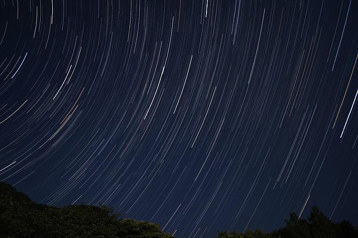 Star, stjerner bane, nat, Sky, nattehimlen, om aftenen, nattevisning