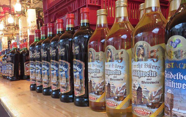 mulled wine, bottles, christmas market, nuremberg, drink, alcoholic, wine