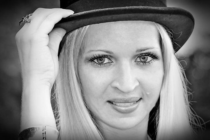 Yama, čierna a biela, tváre, klobúk, žena