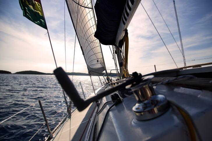 båt, segel, segelbåt, havet, fartyg, vatten, vattenskotrar