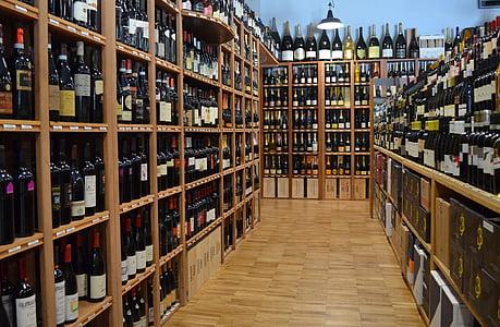 marken, filt, väggen, vinflaska, alkohol, hylla, vin