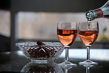vin, skålar, reflektioner, glas, vinglas, dryck, dricksglas