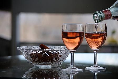 wine, bowls, reflections, glass, wineglass, drink, drinking glass