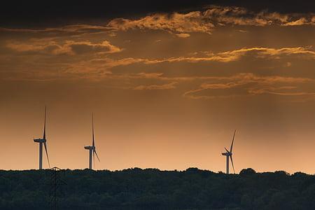 wind, turbine, electricity, wind turbines, sky, alternative, renewable