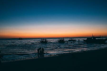kraštovaizdžio, nuotrauka, siluetas, asmuo, šalia, pajūrio, paplūdimys