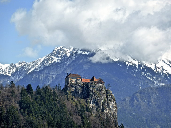 castle, mountains, hilltop, historic, attraction, medieval, bled