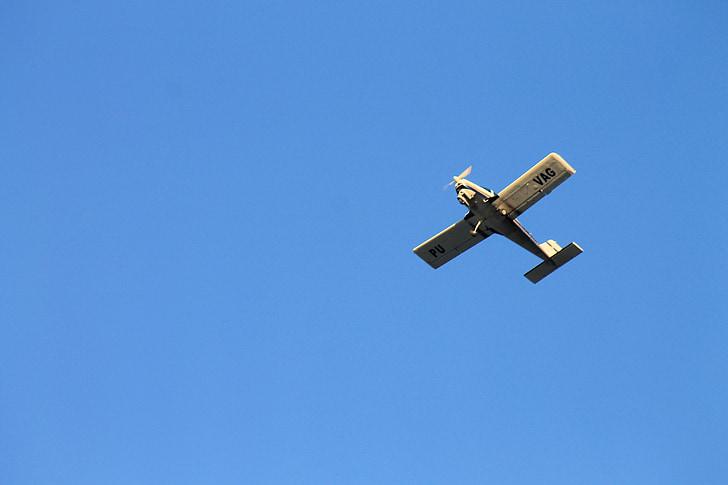 небо, синій, літак, день, Синє небо, крило, краєвид