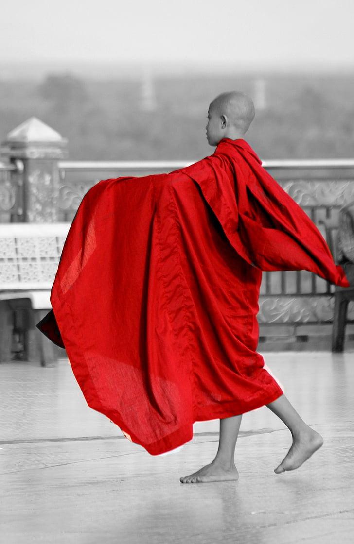 mních, Barma, Mjanmarsko, budhistické, ľudské, červená