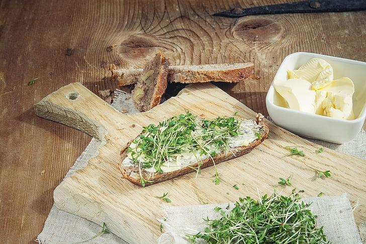 Cress, toidu, roheline, leib, leib, Cress leib, puidust laua