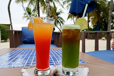 drinks, cocktails, glass, alcohol, fruit, summer, tropical