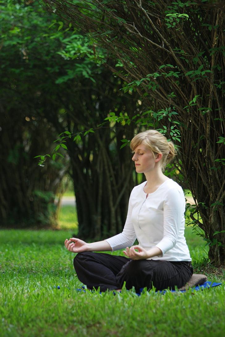 budhistické, Meditácia, žena, dievča, Wat, meditovať, Phra dhammakaya