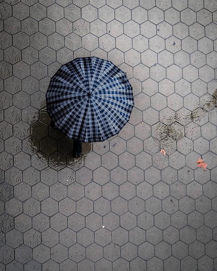 regner, våte, Street, vann, paraply