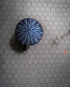 raining, wet, street, water, umbrella