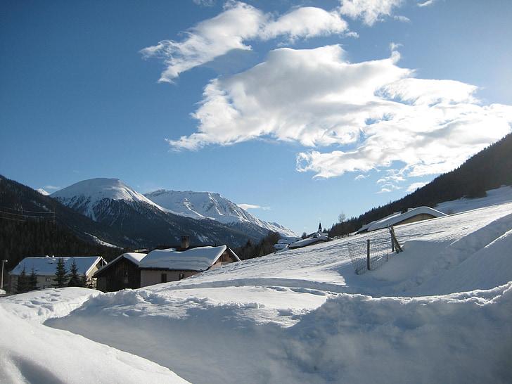 vinter, Alpine, sne, kolde, Dream day, bjerge, hvid