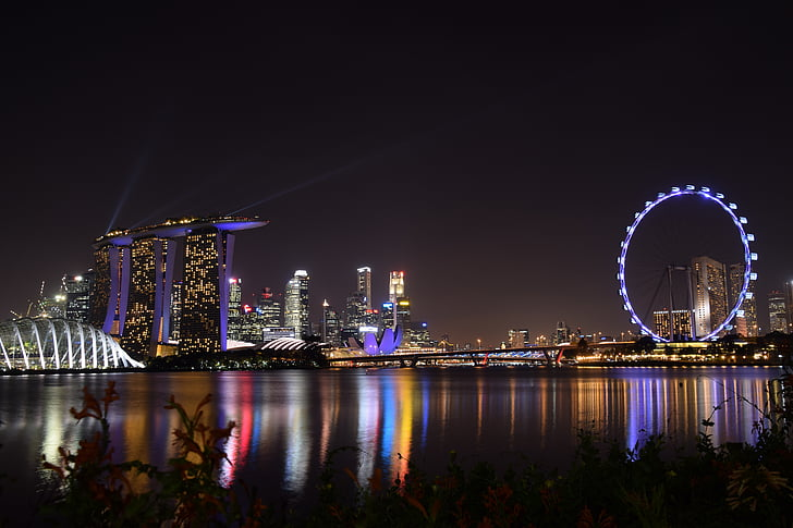 Marina bay, zahrada u zálivu, Singapur, zahrada, barevné