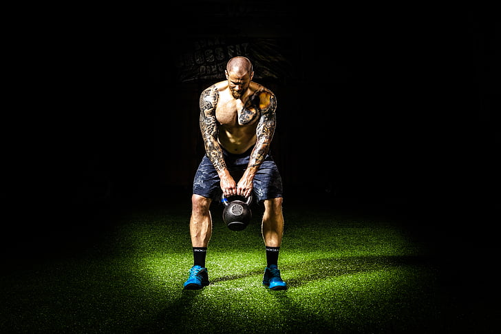 temno, napora, uresničevanje, fitnes, telovadba, kettlebell, človek