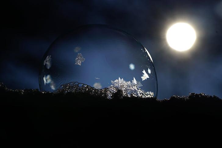 eiskristalle, soap bubble, crystals, ze, cold, bubble, back light