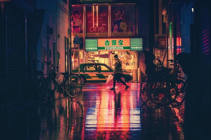 Japonija, Osaka, naktį, Azija, orientyras, kelionės, Japonų