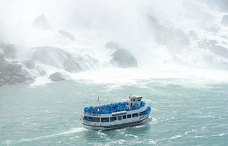 човен, корабель, води, Мряка, туризм, туристів, покоївка туман
