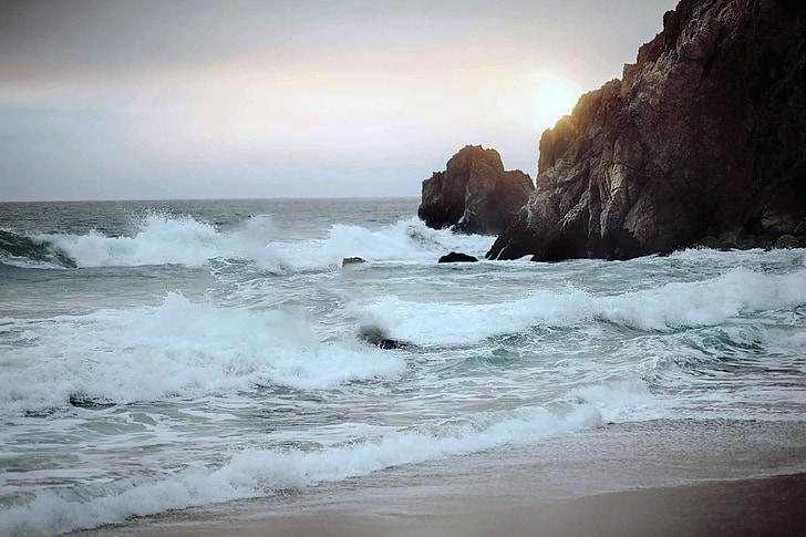 oceà, ones, l'aigua, Costa, Roca