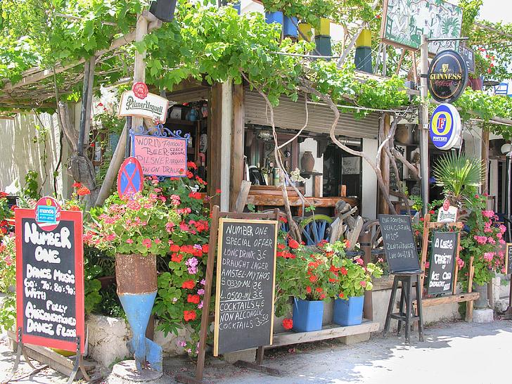 Kos, Kreeka saare, Restoran, menüü loetelu, lilled, traditsiooniline