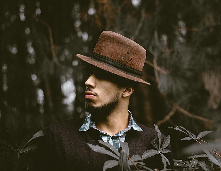 cilvēki, vīrietis, puisis, cepure, modes, daba, koks