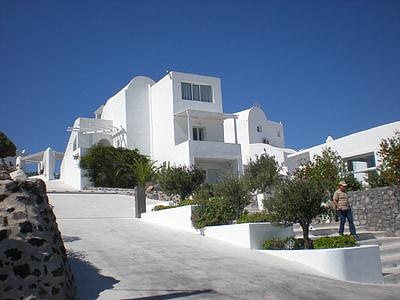 Santorini, Grčki otok, Grčka, marinac, Prikaz ulice, Stambena kuća
