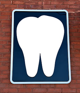 Oficina de dentista, signe, paret, fons, en blanc, dentista, dental