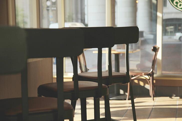 フォーカス, チルト, 写真, 椅子, コーヒー, ショッピング, 家具