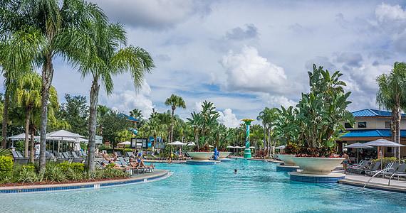 Resort, medence, trópusi, Florida, nyári, nyaralás, úszómedence