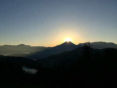 Diamond fuji, Dawn, MT fuji, Yamanashi, Mountain, naturen, solnedgång