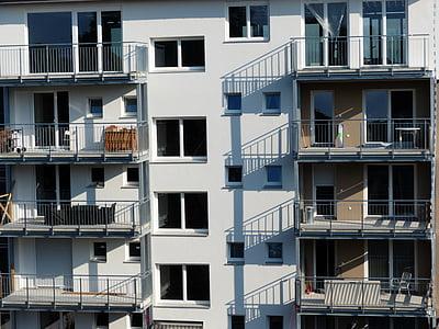 fasad, balkon, bangunan, jendela, arsitektur, rumah, Apartemen