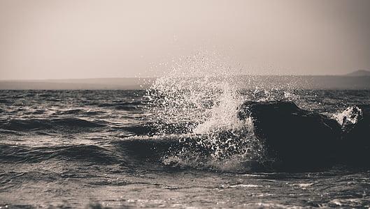 ona, esquitxades, esprai, oceà, l'aigua, Mar, moviment