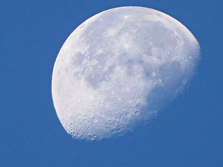 місяць, Денні місяць, небо, Посріблені місяцем, небо і місяця, Краса, сріблястий місяць