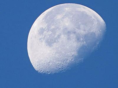Mond, Tagsüber Mond, Himmel, silberner Mond, Himmel und Mond, Schönheit, silberner Mond
