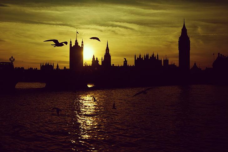 Lontoo, Sunset, London bridge, siluetti, Big ben, Westminster, Englanti