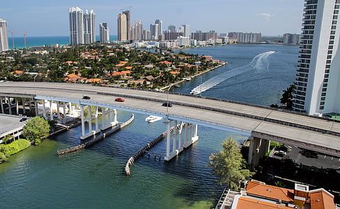 Miami beach, Ocean, Bridge, havet, arkitektur, vatten, Florida