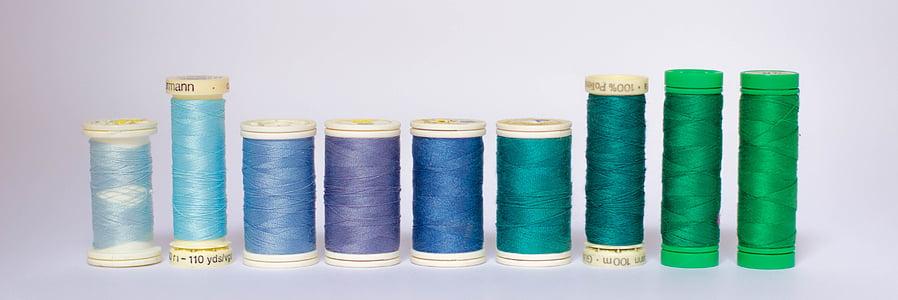 Vlákna, farby, cievka, cievky, galantéria, modrá, tkanie