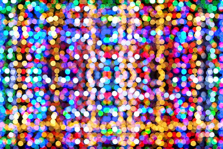 Bokeh, abstraktne, taust, blur, ähmane nägemine, ere, jõulud